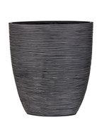 Capi Nature ovale pot rib III zwart 33 cm